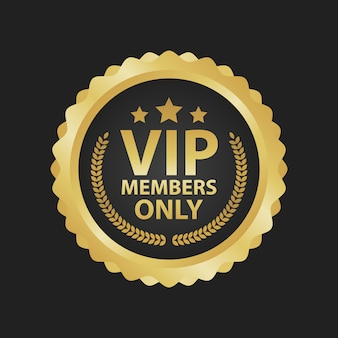 Distintivo dourado premium de membros vip apenas