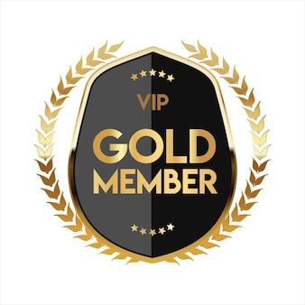 Distintivo dourado vip com design retro de membro dourado