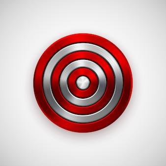Distintivo geométrico do círculo vermelho tecnologia abstrata de metal