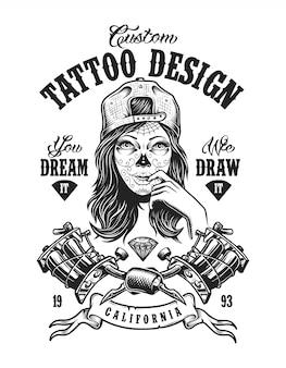 Distintivo monocromático de tatuagem vintage
