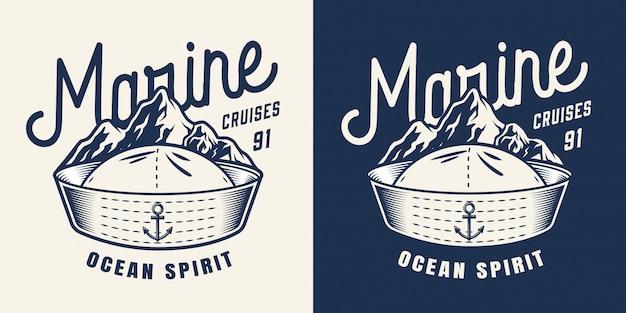 Distintivo monocromático marinho vintage