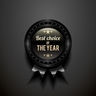 Distintivo preto brilhante com a escolha do ano.