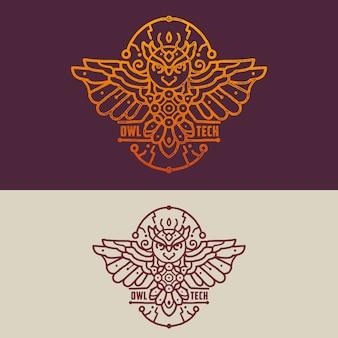Distintivo tecnologia coruja ilustração logotipo monoline