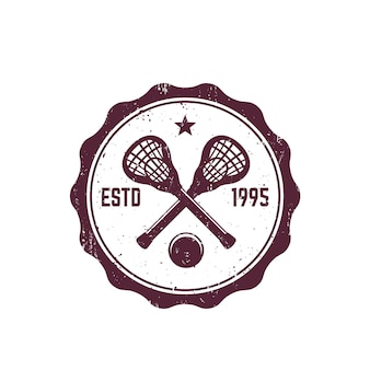 Distintivo vintage de lacrosse, emblema com paus e bola