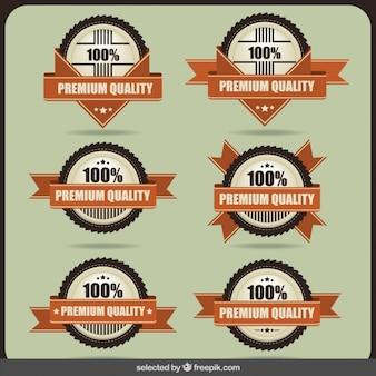 Distintivos 100 por cento de qualidade premium