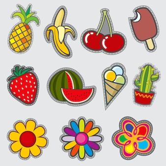 Distintivos de distintivo retrô, adesivos na moda divertida vector