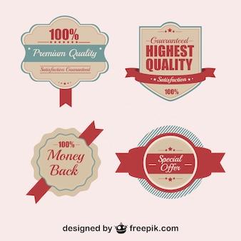 Distintivos de qualidade retro e adesivos