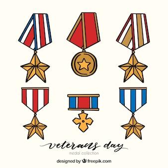 Distintivos do dia dos veteranos desenhados a mão