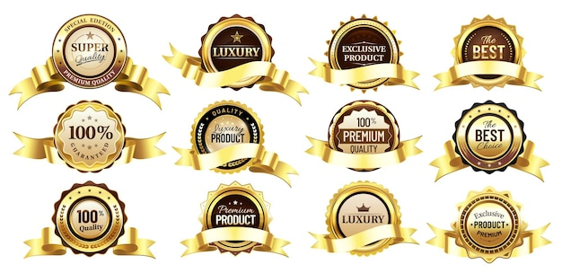 Distintivos dourados de luxo com fitas