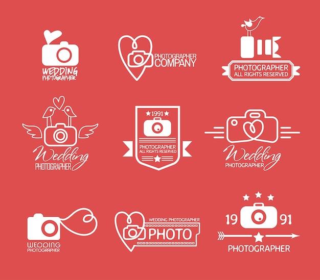 Distintivos e etiquetas de fotografia em estilo vintage