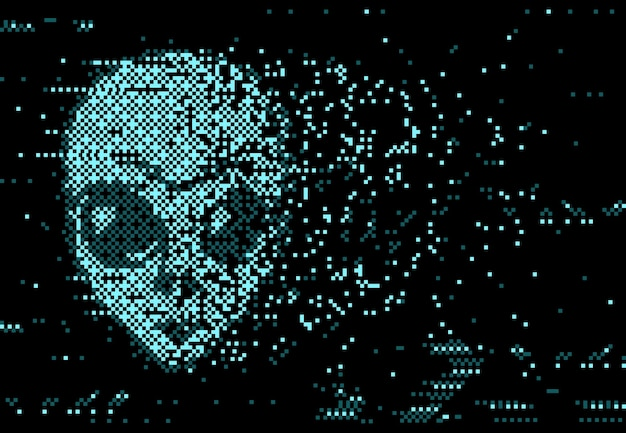 Distorção digital da tela glitch com ruído de pixel e rosto alienígena em ruínas