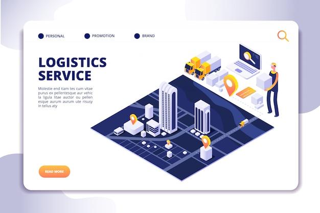 Distribuição e logística. serviço de seguro global sorvendo. página de destino de negócios de comércio internacional