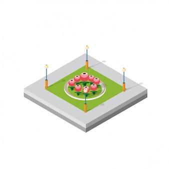 Distrito de módulo 3d isométrico