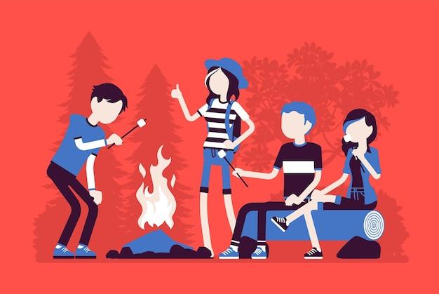 Diversão ao ar livre na fogueira