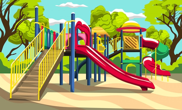 Diversão ao ar livre para parque infantil para crianças, parque infantil com slides e túneis para o projeto ao ar livre do vetor