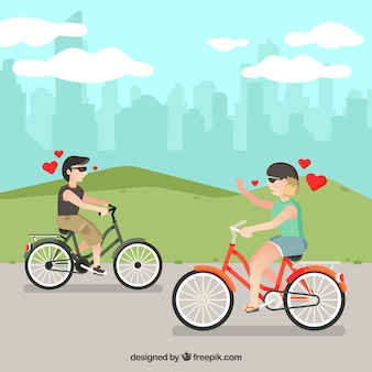 Diversão casal montando bicicleta com design plano