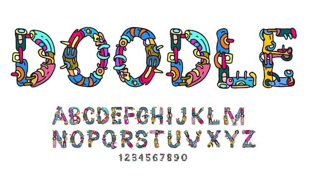 Diversão colorida doodle fonte