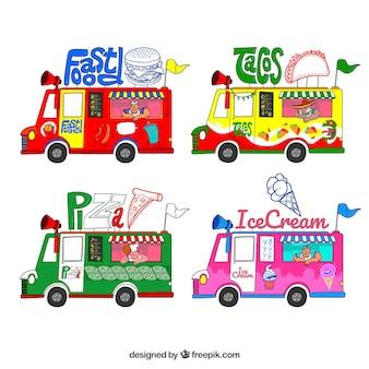 Diversão conjunto com variedade de caminhões de alimentos