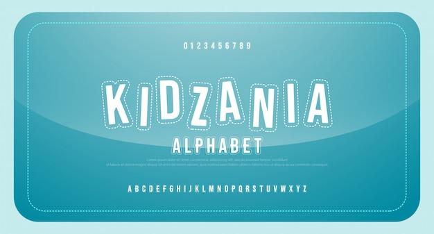 Diversão crianças desenhos animados fonte alfabeto maiúsculas e número. fontes regulares de educação engraçada jogo em quadrinhos.