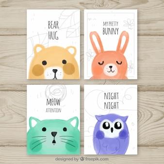 Diversão de cartões com animais bonitos