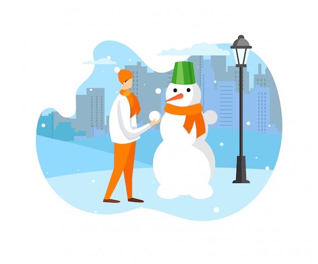 Diversão de inverno e atividade ao ar livre para crianças