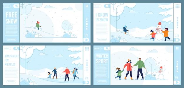 Diversão de inverno e recreação plana landing page set