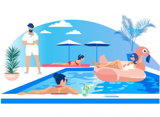 Diversão de jovens em festa de piscina ao ar livre