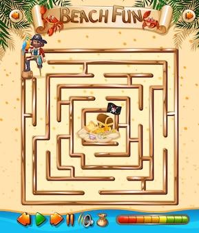 Diversão de praia modelo de jogo de labirinto