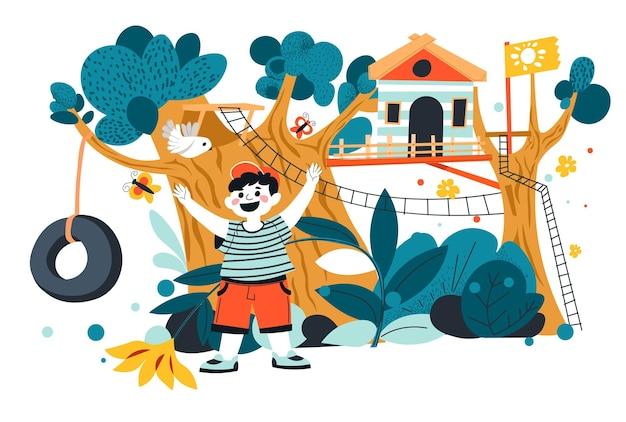 Diversão e entretenimento para criança, criança brincando no parque de diversões na casa da árvore. criança pequena nos feriados ou fins de semana, passando tempo ao ar livre. estrutura de acampamento ou quintal para jogos. vetor em estilo simples