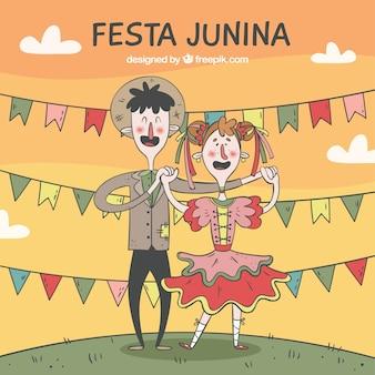 Diversão e tradicional casal festa junina fundo