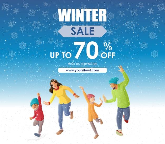 Diversão em família feliz na temporada de inverno