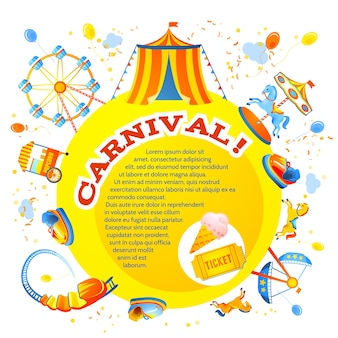 Diversão entretenimento carnaval parque temático convite de design folheto ilustração vetorial