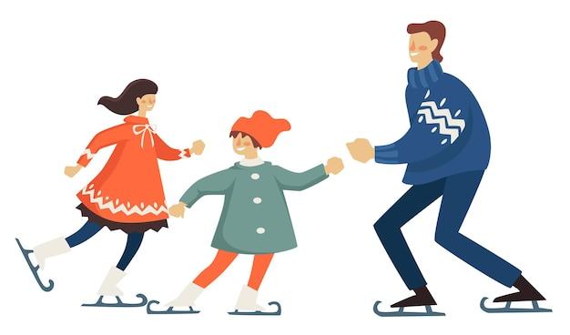 Diversão familiar de inverno da mãe, pai e filha. pai e mãe com criança patinação na pista de gelo. recreação e férias ativas de pessoas. esportes e relaxamento ao ar livre. vetor em estilo simples