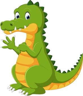 Diversão feliz, cute, crocodilo, caricatura