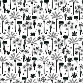 Diversão mão desenhada palmas e árvores padrão sem emenda. plantas africanas