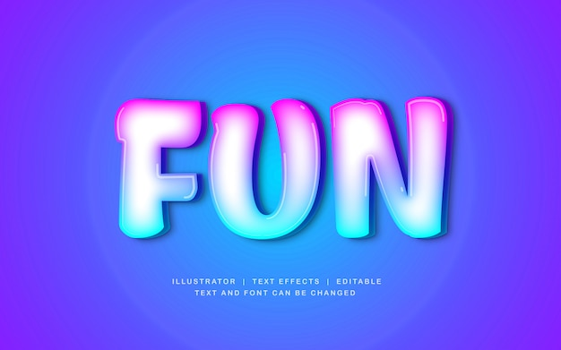 Diversão moderna cor gradiente efeito de texto dos desenhos animados
