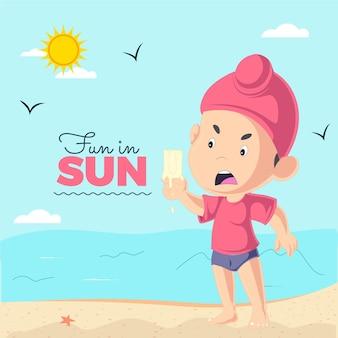Diversão no design de banner solar com sorvete infantil punjabi está derretendo