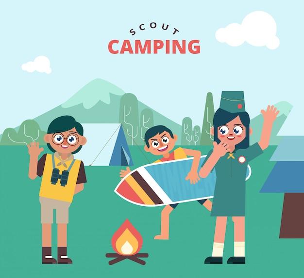 Diversão para crianças scout camping outdoor