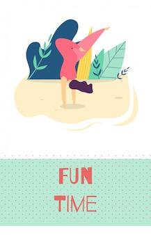 Diversão tempo recreação ao ar livre motivar cartão plano