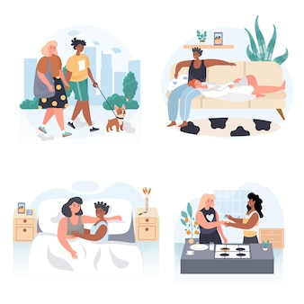 Diversas cenas de conceito de casais de lésbicas homossexuais multirraciais definir ilustração vetorial de personagens