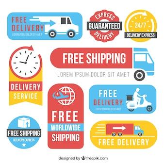 Diversas etiquetas de entrega com estilo moderno