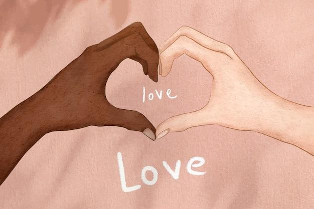 Diversas mãos juntando-se a ilustração de coração vetorial fofa desenhada