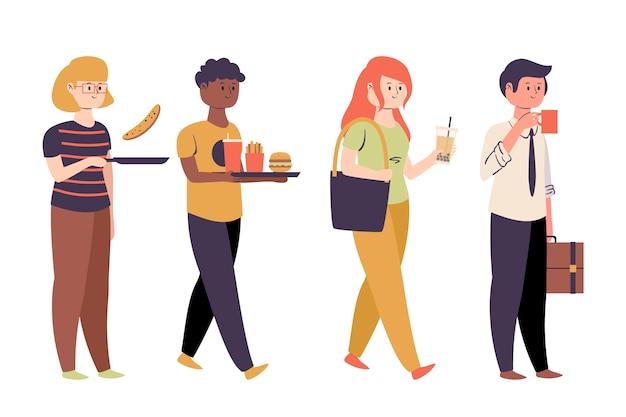 Diversas pessoas com comida