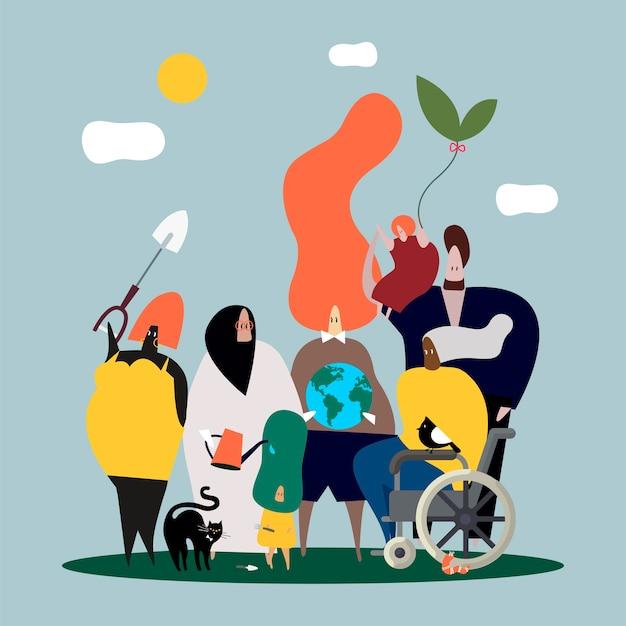 Diversas pessoas e ilustração global da natureza