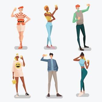 Diversas pessoas selfie atividade pacote ilustração plana