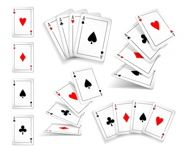 Diversas variantes conjunto de baralho de quatro ases