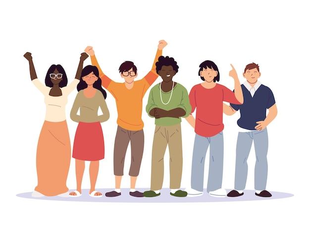 Diversidade de desenhos animados femininos e masculinos, pessoas, raça multiétnica e ilustração temática multicultural