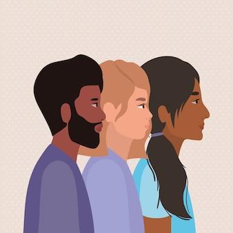Diversidade de mulheres e homens, pessoas, raça multiétnica e tema comunitário