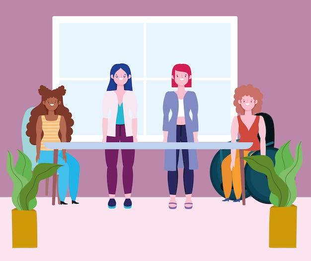 Diversidade e inclusão, grupo feminino diferente com deficiência e estatura e etnia diversas
