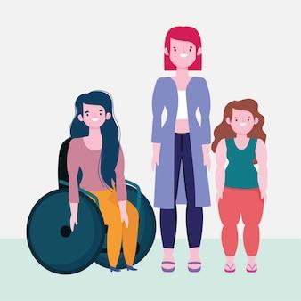Diversidade e inclusão, mulher em cadeira de rodas e mulheres baixas e altas